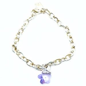 SWAROVSKI~purple crystal flower~CHARM BRACELET